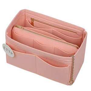 Purse Organizer, Felt Purse Organizer Insert With 2 Metal Zipper, Handbag Organizer For Speedy, Neverfull, Tote, Handbag, 7 Colors 5 Sizes (Brush Pink, Meidum)