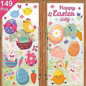 Adeeing Easter Decorations Window Clings 149 Pcs Bunny Eggs Chicks Flowers Carrot Happy Easter Decals Decor for Glass Windows Home Office School Kindergarten 4 Sheets Party Supplies
