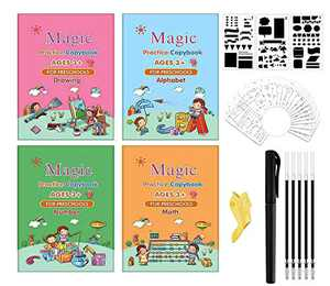Magic Practice Copybook for Kids - Numbers English Math Painting - Calligraphy Reusable Groove Writing Copybook with Disappearing Ink Pen, Improve Children's Learning to Writing Ability 3-6age