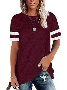 MISSJOY Womens T Shirts Short Sleeve Crewneck Tees Casual Loose Fit Tunic Color Block Blouse Tops (Brick Red,S)