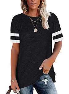 MISSJOY Women's Casual Loose Tunic Tops Crewneck Colorblock Shirts Striped Short Sleeve Tee Blouse (Black,S)