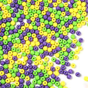 900 Pieces 8mm Mardi Gras Craft Beads Acrylic Multi-Colored Beads Silicone Mini Pony Beads Fat Tuesday Round DIY Beads for Mardi Gras Party Home DIY Craft Jewelry Decors Making Crafts, 3 Colors