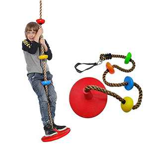 Tree Climbing Rope Disc Swing, Climbing Rope Tree Platforms Swing Seat, Playground Swing Set Accessories, Outdoor Slide Play Sets Rainbow Kids Swings, Include Connection Buckle and 21.6in Hanging Trap