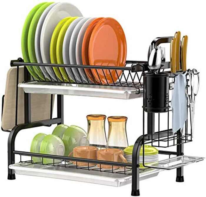 SMHOUSE Dish Drainer, Rustproof 2 Tier Dish Rack with Drainboard Stainless Steel Utensil Holder Dish Drainer for Kitchen Counter (Black)