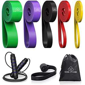 CG.FDS Pull up Assist Band, Power Band, Resistance Stretch Band for Men and Women with Door Anchor, Jump Rope, Carry Bag, Workout, Mobility, Powerlifting Heavy Duty Bands (Set-5)