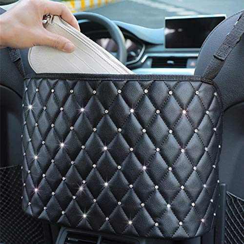 LEQC Car Net Pocket Handbag Holder, Car Purse Holder Between Seats, Car Seat Organizer, Durable Car Seat Storage, Pu Leather Hanging Storage Bag, Storage Barrier of Backseat Pet Kids( diamond-Black)