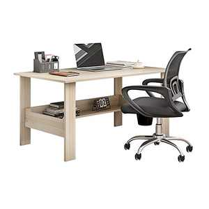 Modern Small Computer Desk,Thicken Wooden Desktop Writing Table Sturdy Laptop Table Workstation with Under Bookshelf (White -110x45x72)
