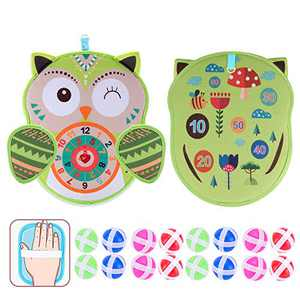 yinsepai Velcro Safe Darts Board Indoor Sports Toy Sticky Balls Classic Fun Gifts(Green owl)