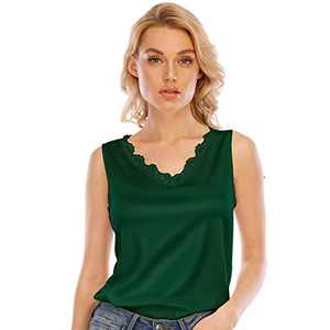 Women's Silk V Neck Camisole Lace Racerback Tank Tops Casual Loose Sleeveless Blouse Shirts(Green,2XL)