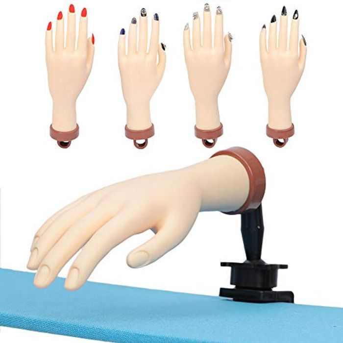 Practice Hand for Acrylic Nails 1 Piece Nail Training Practice Hands, Fake Hand Nails for Practice Flexible Movable Mannequin Hand for Nail Practice Tool