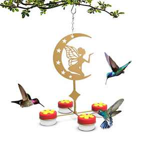 U-pick Hanging Hummingbird Feeders for Outdoors, Red Hand-held Hummingbird Feeder with Clean Brushes (Metal, Gold, Fairies)