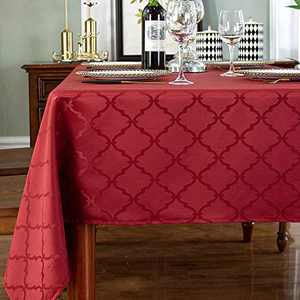 """Red Tablecloth for Rectangle Table Floral Pattern Polyester Table Cloth Spill Proof Wrinkle Resistant Table Cover for Kitchen Dining Parties Tabletop(Rectangular/Oblong,60""""x 120""""(10-12 Seats),"""
