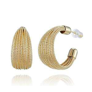 SWEETV Gold Hoop Earrings for Women Thick Chunky Hoop Earrings 20MM Medium Huggie Hoop Earring 925 Sterling Silver Post