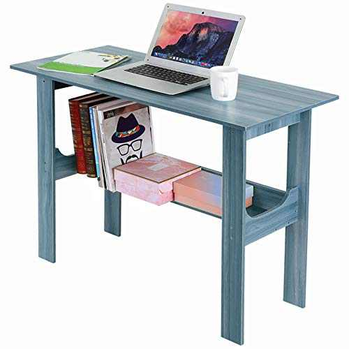 Modern Small Computer Desk,Thicken Wooden Desktop Writing Table Sturdy Laptop Table Workstation with Under Bookshelf (Blue -100x45x72)