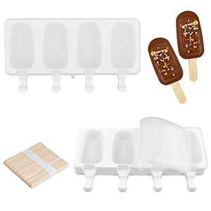 Fimary Large Popsicle Molds Set with Lid (Upgraded), 4 Cavities Homemade DIY Ice Pop Molds Oval, Food Grade Silicone Molds for Kids & Ault, with 50 Wooden Sticks (1, White)