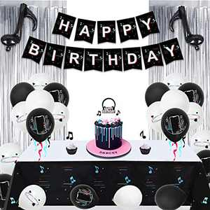AYUQI 58pcs Birthday Party Decorations Happy Birthday Banner Tablecloth Silver Fringe Curtain Note Foil Balloon and Latex Balloons Cake Toppers Birthday Party Supplies