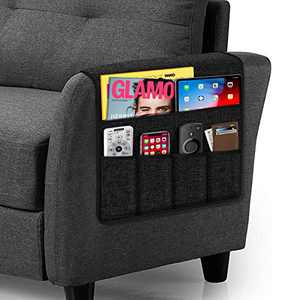 Remote Caddy Organizer Couch Caddy Armrest, Non-Slip Couch Caddy Armchair Arm Chair Caddy with 5 Pockets Armchair Caddy for Smart Phone, Book, Magazines, TV Remote Control(Black ,13'' x 35'')