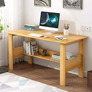 Modern Small Computer Desk,Thicken Wooden Desktop Writing Table Sturdy Laptop Table Workstation with Under Bookshelf (Yellow -100x45x72)