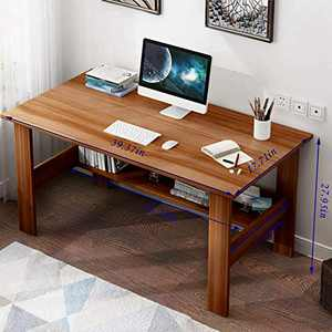 Modern Small Computer Desk,Thicken Wooden Desktop Writing Table Sturdy Laptop Table Workstation with Under Bookshelf (Brown -100x45x72)