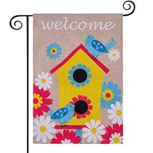 DECORKEY Welcome Garden Flag, DIY Burlap Spring Summer Yard Flag with 3D Birdhouse Sunflower Stickers Craft Kit for Kid Adults, for Outdoor Patio Lawn Decoration