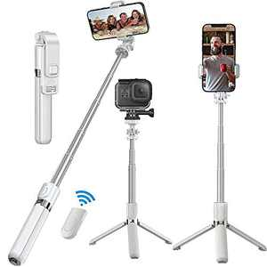 Selfie Stick, Senli 4 in 1 Bluetooth Selfie Stick, Tripod & Phone Stand 360° Rotation Holder with Detachable Remote for Small Camera As GoPro and Compatible with iPhone/Samsung/Huawei