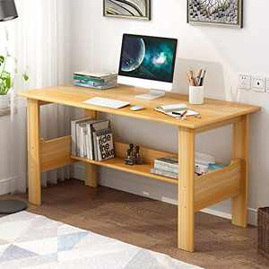 Modern Small Computer Desk,Thicken Wooden Desktop Writing Table Sturdy Laptop Table Workstation with Under Bookshelf (Yellow -110x45x72)