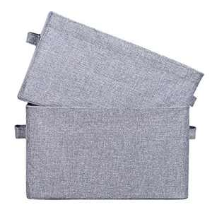 HOKEMP 2 Pack Storage Bins Foldable Stackable Underbed Storage Baskets with Steel Frame for Toys, Bookshelves, Clothes, Home Closet, Laundry (Grey)