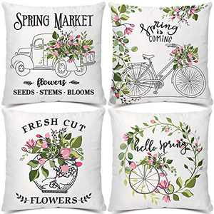 Artivestion Spring Pillow Covers Floral Vintage Throw Decorative Pillow Covers Pillows for Couch for Living Room Set of 4