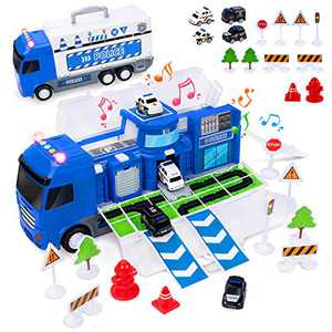 UNIH Transport Car Carrier Truck Toy for Boy, Push and Go Transport Cargo Police Car Set with 4 Police Educational Vehicles 11 Road Signs, Police Car Toy for Kids Child Gift Age 3 4 5 6 Years Old
