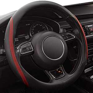 WHHW Universal Steering Wheel Cover with Microfiber Leather for Car Truck SUV, Anti-Slip Steering Wheel Cover 15 inchs