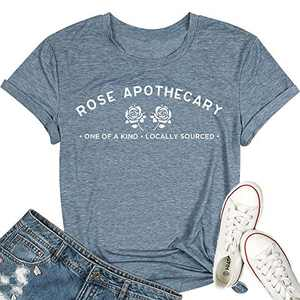 T&Twenties Women Rose Apothecary Shirt Locally Sourced Letter Printed Graphic Tshirt Casual Short Sleeve Lovers Gift Tee Tops