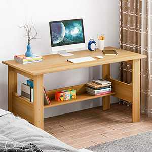 Modern Small Computer Desk,Thicken Wooden Desktop Writing Table Sturdy Laptop Table Workstation with Under Bookshelf (Yellow -100x60x72)