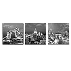 New York City Wall Art Empire State Building Arc de Wall Art Tower London Bridge Poster Architectures Pictures for Living Room Bedroom Home Decorations Stretching Ready to Hang (City, 12x12inchx3)