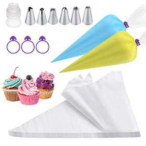100 pcs /set Disposable Piping Bags with 6 Cupcake Icing Tips, 12 Inch Thickened Pastry Bag for Cream Frosting, Cupcake Cake Decorating Supplies Bonus 3 Bag Ties & 1 Icing Tips Coupler