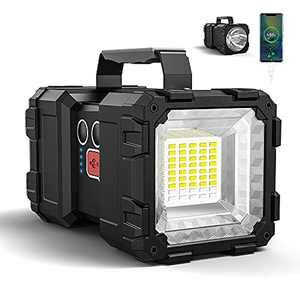 Bright Rechargeable Flashlight,JODK Portable Handheld Spotlight Searchlight with 3+4 LED Lights Modes, High Lumen Waterproof Flashlight Portable Light Weight