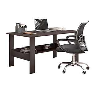 Modern Small Computer Desk,Thicken Wooden Desktop Writing Table Sturdy Laptop Table Workstation with Under Bookshelf (Black -100x60x72)
