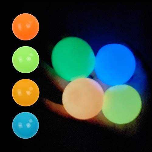 4PCS Luminous Sticky Balls, Stress Relief Balls Squishy Wall Ceiling Sticky Ball, Stress Relief Toys Sensory Balls for Kids and Adults (OBG-B, 1.8inch)