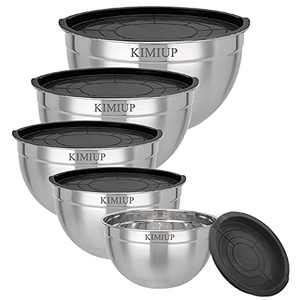Mixing Bowls with Lids Set of 5 Stainless Steel Mixing Bowls for Cooking, Baking, Mixing and Food Storage, Extra Deep for Generous Servings Stackable Size 5.3, 4.5, 3.5, 2.5, 2QT(Set of 5)