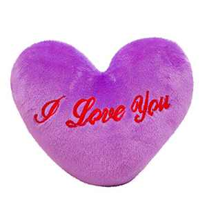 Valentine's Day Pillow,Colorful Heart Luminous Glowing Pillow Soft Plush Children Cute Toy (Purple)