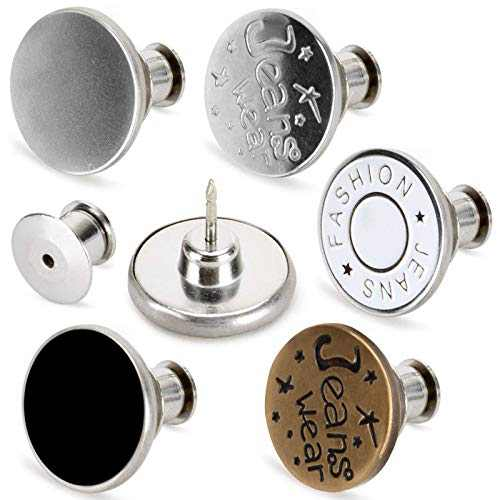 [Upgraded] TOOVREN 8 Sets Button Pins for Jeans, 5 Styles Perfect Fit Jean Button Replacement, Adjustable Jean Button Pins Metal Clips Snap Tack No Sew Instant Extend or Reduce Any Pants Waist