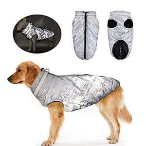 SunteeLong Dog Winter Jacket Puppy Clothes Reflective Dog Cold Weather Coats Waterproof Windproof Dog Fleece Warm Dog Vest for Medium Large Dog(Reflective,M)