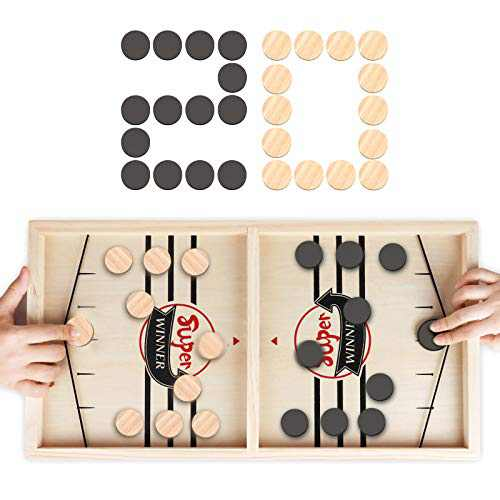 Fast Sling Puck Game, RegeMoudal Wooden Hockey Table Game, Table Battle Game for Kids and Adults, Foosball Winner Board Games for Family, Birthday Gift(22 in x 11.8 in)