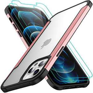 AEDILYS Compatible with iPhone 12 Pro Max Case (2020),[Airbag Series] with [2 x Screen Protector] [Military Grade] | 15Ft. Drop Tested [Scratch-Resistant] 6.7Inch- Rose Gold
