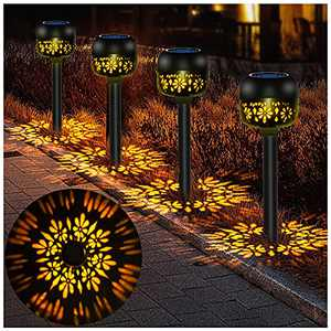 Solar Powered Garden Lights Outdoor Solar Pathway Lights Auto On/Off Landscape Lights Waterproof LED Decorative Path Lights for Patio, Yard, Lawn, Walkway, and Landscape (4 Pack)