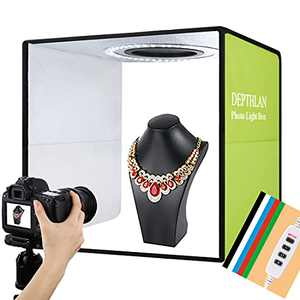 Folding Photo Light Box Studio Kit with Ring LED Lights and 3 Lighting Models for Portable Professional Photographing Shooting Tent for Small Size Itens