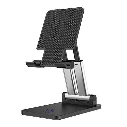 SYBOYIE Upgraded Phone Stand, Angle Height Adjustable Foldable Stand for Desk, Compatible with iPhone, Samsung, iPad, Kindle, Tablets, Mobile Phones and Smartphone (Black)