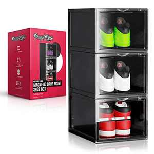 PUMPS&KICKS Shoe Storage Organizer Boxes | 3 Pack | Black | Stackable for Closet | Drop Front Clear Opening | Extra Large for High Top Sneakers, Mens Size 14 and Womens High Heels (Black)