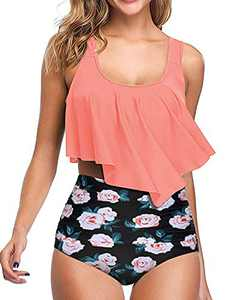 Aqua Eve Women Flounce Bikini Swimsuits Ruffle High Waisted 2 Piece Tummy Control Bathing Suits Pink S