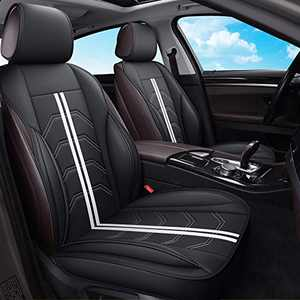 AOOG Leather Car Seat Covers, Universal Non-Slip Vehicle Cushion Cover for Cars SUV Pick-up Truck, Leatherette Automotive Vehicle Cushion Cover Waterproof Protectors Interior Accessories, Front Pair