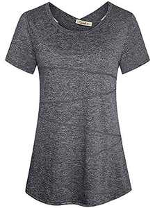 Womens Scoop Neck Cute Racerback Yoga Workout TES Shirt Top Deep Grey XX-Large